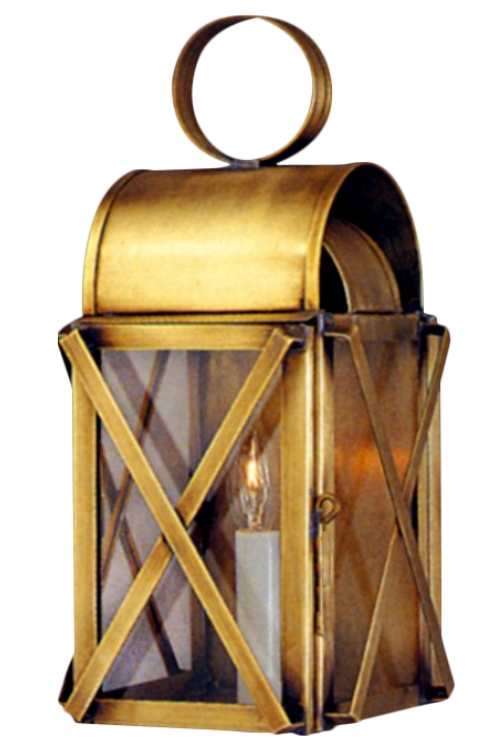 "<b>Bunker Hill Colonial Wall Sconce Copper Lantern</b><br>  Size: <b>Small - 14"" H x  6.5"" W x 6.5"" D"" D</b><br>Socket: <b>1-60W Medium Base</b><br>Finish: <b>Antique Brass</b><br> Glass:<b> Clear</b>"