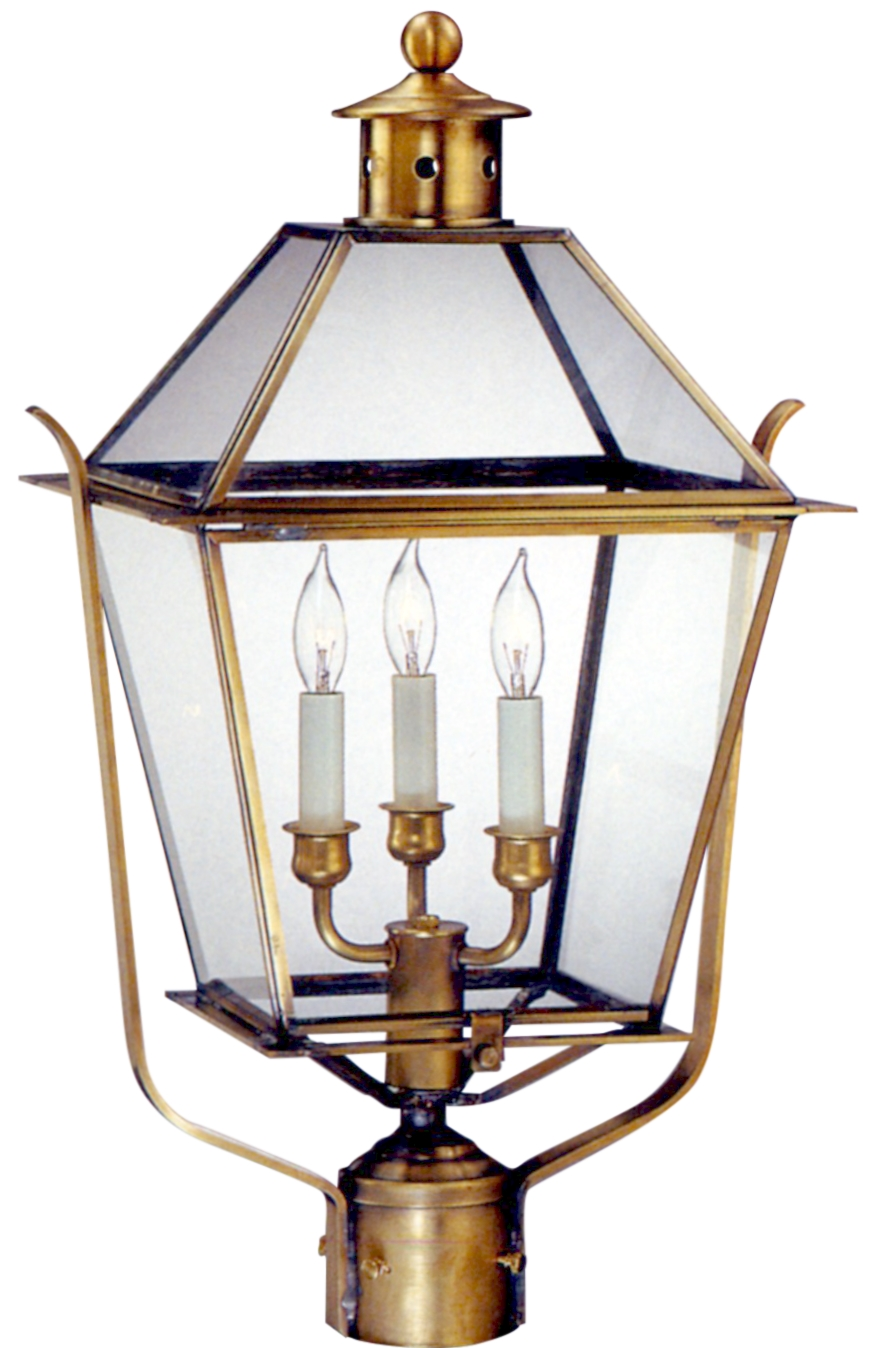 colonial electric copper lantern post light heads for sale - carolina colonial post lantern with side straps