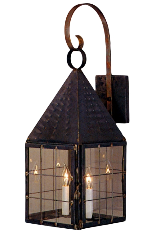 Colonial new england wall light with bracket copper lantern aloadofball