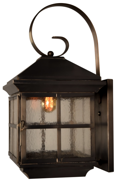 "<b>Coronado Mission Wall Light</b><br> Size: <b>Medium:20"" H x 10"" W x 12"" D</b><br> Sockets: <b>1-60 Medium Base</b><br> Finish: <b>Dark Copper</b><br> Glass: <b>Seeded</b>"