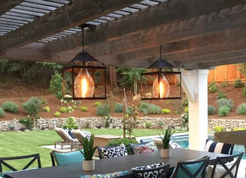 Custom Brass Pendant Lantern for Northern California Residential Outdoor Living Space