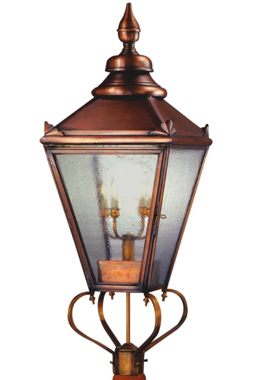"<span class=""c6"">As shown above:<br><b>Hampton Post Light</b><br> Size: <b>X-Large</b><br>Dimensions: <b>46.5"" H x 16.5"" W x 16.5"" D</b><br>Socket: <b>4-60W Max Candelabra Base</b><br>Finish: <b>Antique Copper</b><br>  Glass: <b>Seeded</b></span>"