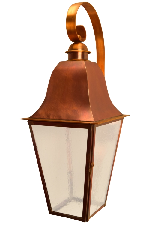 "<span style=""text-align:left;font-size: 10pt;""> Size: <b>Large</b><br> Dimensions: <b>28.5"" H x 9.5"" W x 13"" D</b><br> Finish: <b>Flamed Copper</b><br> Glass: <b>Seeded</b><br> Sockets: <b>1-60W Medium Socket [Downlight in Roof]* **</b><br>*Custom option for this size<br>**Meets Dark Sky regulations</span>"