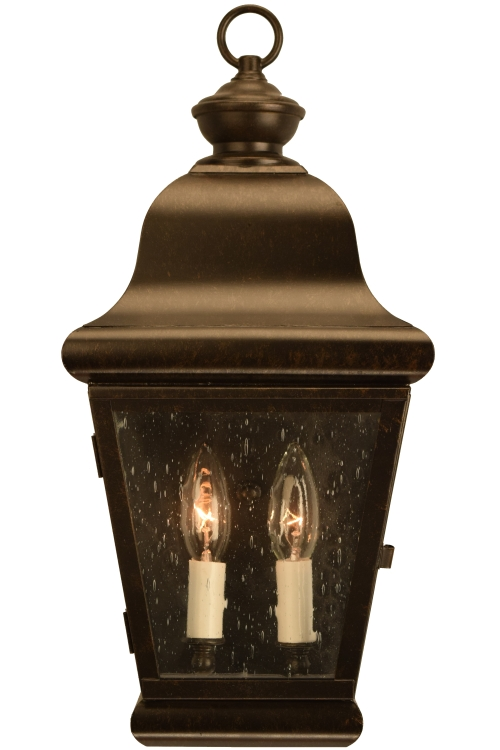 "<span class=""as-shown"">As shown:<br> Size: <b>Medium</b><br> Dimensions: <b>18.5"" H x 8.5"" W x 6"" D</b><br>  Sockets: <b>2-60W Candelabra</b><br> Finish: <b>Dark Copper</b><br> Glass : <b>Water Glass</b><br></span>"