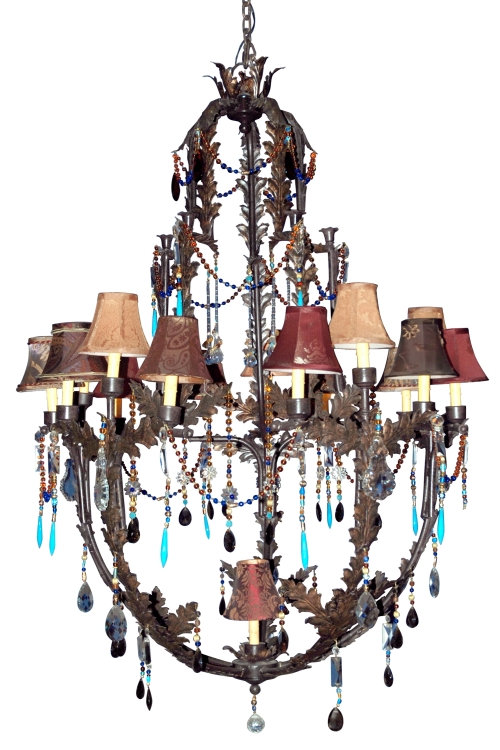 Moroccan jeweled iron chandelier large lighting close out moroccan jeweled iron large chandelier close out aloadofball Gallery