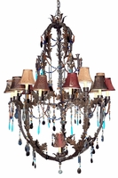 Moroccan Jeweled Iron Large Chandelier [Close Out]