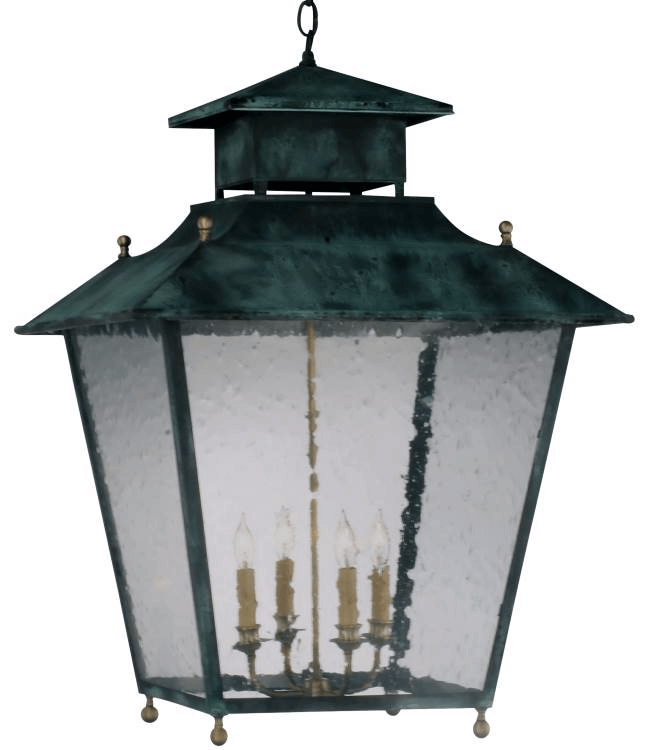 Normandie Pendant Lantern in Verdi Green with Raw Brass accents