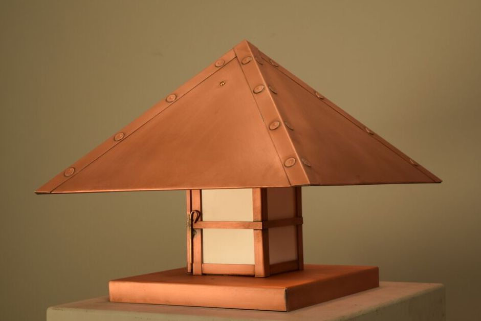 Pyramid Copper Pier-Base Column Mount Lantern