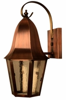 Waylon Copper Lantern Wall Light with Bracket & Scroll