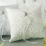 Bridal Tapestry Square Ring Pillow - Ivory