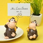 Hand Painted Ceramic Monkey Place Card / Photo Holders