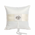 Classic Double Heart Square Ring Pillow - Ivory