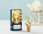 Gold Nautical Anchor Bottle Stopper