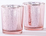 Light Pink Mecury Glass Tea Light Holder (Set of 4)