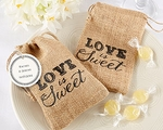 """Love is Sweet"" Burlap Drawstring Favor Bag (Set of 12)"