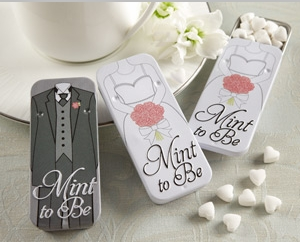 """""""Mint To Be"""" Bride and Groom Slide Mint Tins with Heart Mints"""" title=""""""""Mint To Be"""" Bride and Groom Slide Mint Tins with Heart Mints"""