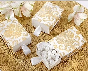 """Treasures"" Gold Damask Favor Box (Set of 24) (Available Personalized) "" title=""""Treasures"" Gold Damask Favor Box (Set of 24) (Available Personalized)"