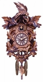 Aesop's Fable  Quartz Cuckoo Clock  Hand-carved Maple Leaves Grapes, Bird, and Fox