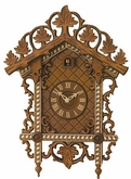 "CUCKOO CLOCKS:  15"" BAHNHAUSLE W/ INLAY  1 DAY MOVEMENT"