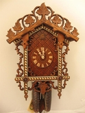 "CUCKOO CLOCKS:  19"" BAHNHAUSLE w/ INLAY  8 DAY MOVEMENT"