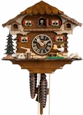 "CHALET CUCKOO CLOCK:  9"" BEER DRINKER  1 DAY MOVEMENT"