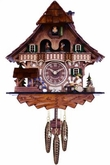 Quartz Musical Black Forest  Cuckoo Clock with Dancers,  Waterwheel, and Beer Drinker