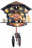 "CHALET CUCKOO CLOCK:  9"" BEER DRINKER  MUSICAL & QUARTZ"