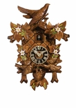 Bird Feeds Nest Hand-Painted Flowers Cuckoo Clock