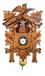 "Black Forest Carved Clock: 7"" Leaf & Bird with Dancers"