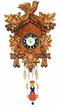 "Black Forest Carved Clock: 6"" Swinging Black Forest Girl with Red Flowers"
