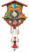 "Black Forest Chalet Clock: 4"" Swinging Black Forest Girl"