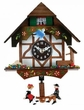 Quartz Novelty Clock  German Chalet with Bird & Well