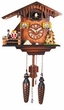 "CHALET CUCKOO CLOCK:  8"" DEER & DANCERS  MUSICAL & QUARTZ"