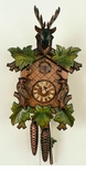 Unique Deer Head Green Leaves Cuckoo Clock