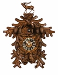 Incredible Detail Cuckoo Clock Deer Owls Pinecones