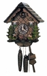 "CHALET CUCKOO CLOCK:  10"" DEER and HARE/RABBIT 1 DAY MOVEMENT"
