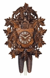 Exquisitley Carved Leaves Eight Day Cuckoo Clock