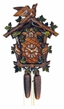 Painted Green Leaves and Bird Cuckoo Clock
