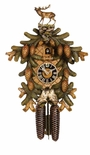 Incredible Hand-Painted Detail 8 Day Cuckoo Clock Deer Owls Pinecones