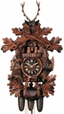 """BLACK FOREST CUCKOO CLOCK 19"""" HUNTER  8 DAY MOVEMENT MUSICAL"""