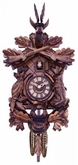 Hunter's Quartz Cuckoo Clock  with Hand-carved Oak Leaves,  Bunny, Bird, and Crossed Rifles, and Buck