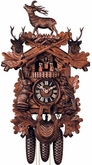 Deer Horns HUNTER & DEER  MUSICAl CUCKOO CLOCK 8 DAY MOVEMENT