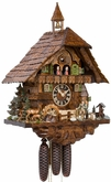 HUNTER HUNTING DEER SCENE 8 DAY MUSICAL CUCKOO CLOCK