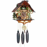 Eight Day(8)Musical  Cuckoo Clock with  Hunter Moving with  Binoculars and Waterwheel