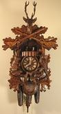 "BLACK FOREST CUCKOO CLOCKS:  23"" HUNTER w/ ANIMALS  8 DAY MOVEMENT"