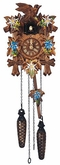 "Schneider Quartz Cuckoo Clock 9"" Leaf and Bird with Flowers"