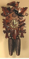 "WINDING CUCKOO CLOCK 12"" LEAF & BIRD  8 DAY MOVEMENT"