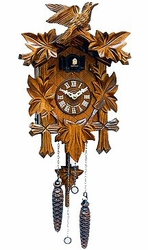 "QUARTZ CUCKOO CLOCK 9"" LEAF & BIRD MUSICAL"