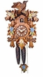 "CUCKOO CLOCKS:  9"" LEAF & BIRD  w/ BLUE & WHITE FLOWERS  1 DAY MOVEMENT"