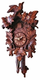 "CUCKOO CLOCK:  12"" LEAF & BIRD w/ FLOWERS  1 DAY MOVEMENT"